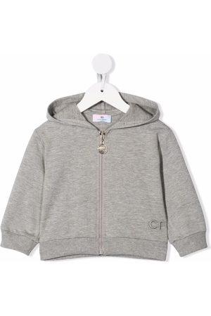 Chiara Ferragni Bomber Jackets - Embroidered-logo hoodie - Grey