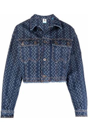 M Missoni Women Denim Jackets - Zig-zag cropped denim jacket