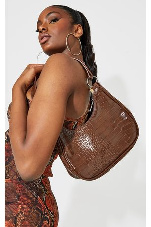 PRETTYLITTLETHING Women Purses - Chocolate Oversized Croc Rounded Shoulder Bag