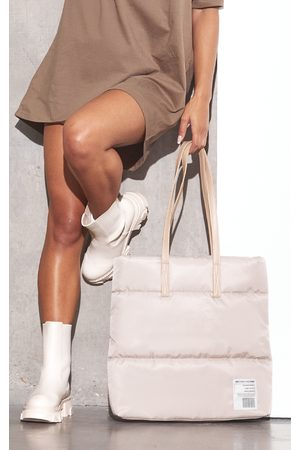 PRETTYLITTLETHING Women Purses - RENEW Taupe Nylon Logo Tote Bag