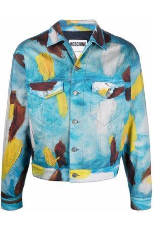 Moschino Men Denim Jackets - Paint stroke-print denim jacket