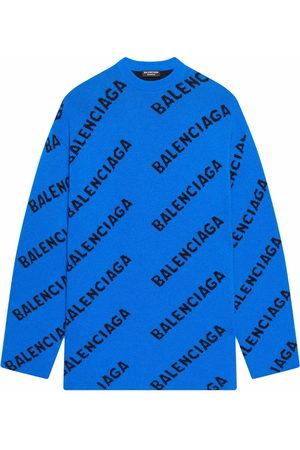 Balenciaga Men Sweatshirts - Oversized logo-intarsia jumper