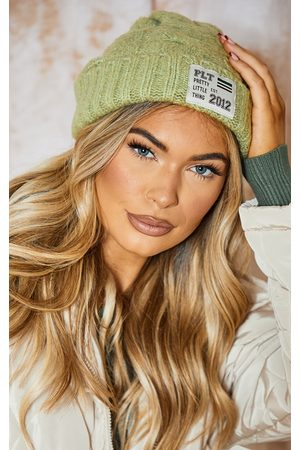 PRETTYLITTLETHING Women Beanies - Olive Chunky Cable Beanie