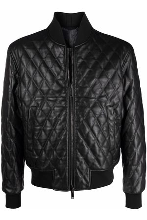 TAGLIATORE Men Leather Jackets - Quilted leather bomber jacket