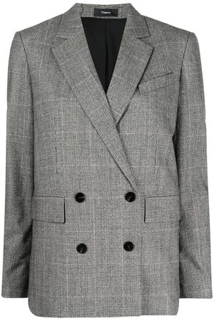 THEORY Women Blazers - Double-breasted checked blazer - Grey