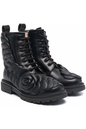 Florens Girls Ankle Boots - Floral-appliqué leather boots