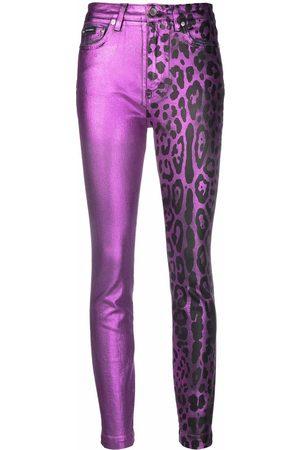 Dolce & Gabbana Women Leather Pants - Leopard print leather trousers