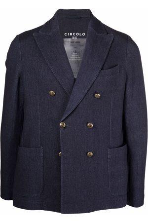 Circolo Men Blazers - Unlined double-breasted stretch-cotton blazer