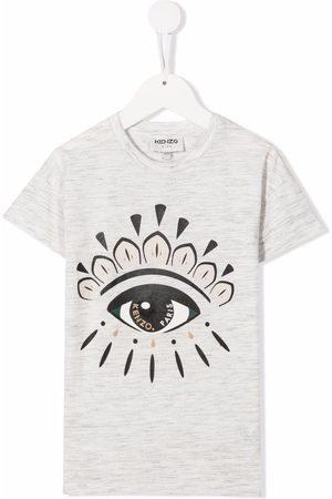 Kenzo Girls T-shirts - Graphic-print cotton T-shirt - Neutrals
