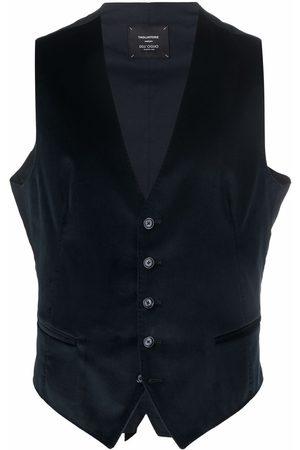 TAGLIATORE Men Waistcoats - Velvet-effect button-up waistcoat