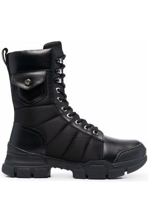 Love Moschino Laced patch-pocket boots