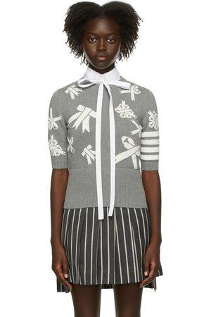 Thom Browne Women Sweatshirts - Grey Intarsia Ribbon 4-Bar Sweater
