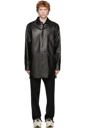 OAMC Men Leather Jackets - Black Leather Echo Shirt Jacket