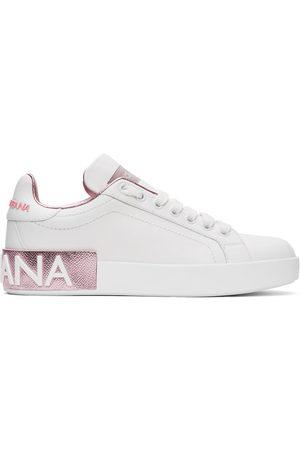 Dolce & Gabbana Women Sneakers - White & Pink Portofino Sneakers