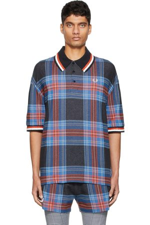 Charles Jeffrey Loverboy Men Polo Shirts - Blue & Black Fred Perry Edition Tartan Pique Polo