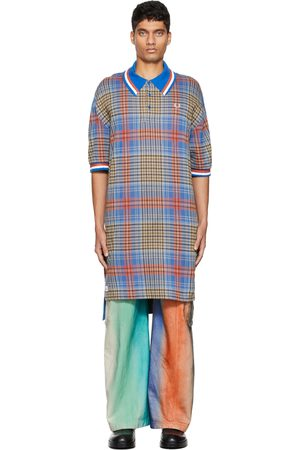 Charles Jeffrey Loverboy Black & Blue Fred Perry Edition Tartan Longline Polo