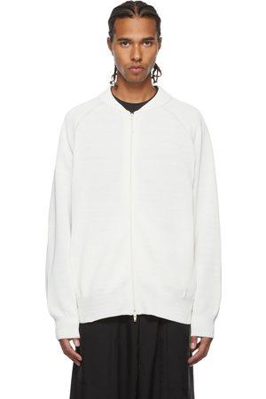 Y-3 Men Sweaters - White Knit Crew Zip Sweater