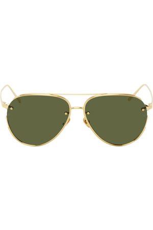 Linda Farrow Women Aviators - Gold Russo Aviator Sunglasses