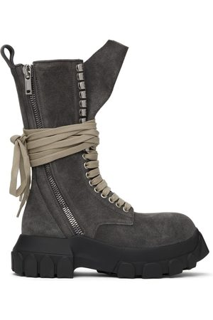 Rick Owens Velvet Suede Lace-Up Tractor Boots