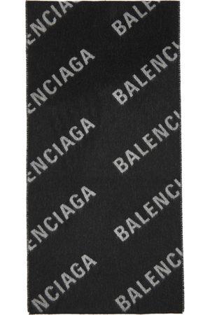Balenciaga Women Scarves - Black & Grey Allover Logo Macro Scarf