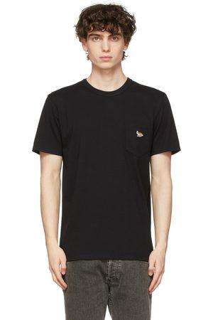 Maison Kitsuné Men T-shirts - Black Profile Fox Patch Pocket T-Shirt