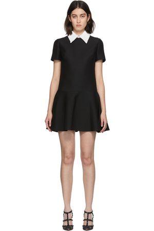 VALENTINO Black Embroidered Collar Dress