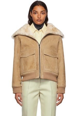 YVES SALOMON Women Leather Jackets - Tan Ribbed Suede Jacket