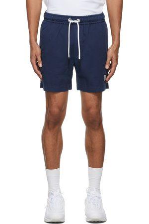Palm Angels Navy Rubberized Logo Elasticized Chino Shorts