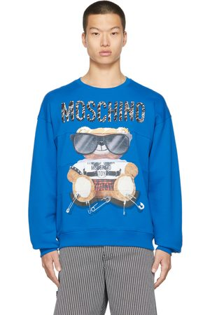 Moschino Men Sweatshirts - Blue Mixed Teddy Bear Sweatshirt