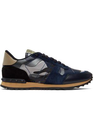 VALENTINO GARAVANI Men Sneakers - Blue & Grey Camo Rockrunner Sneakers