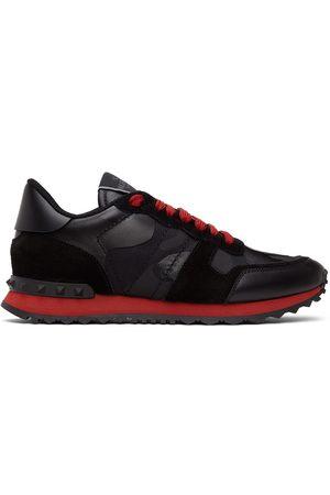 VALENTINO GARAVANI Black & Red Camo Rockrunner Sneakers
