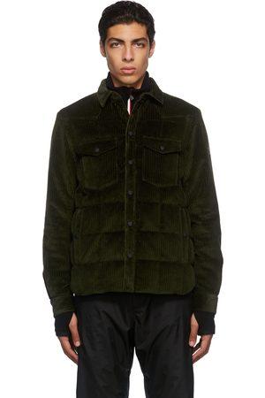 Moncler Men Puffer Jackets - Green Corduroy Down Jacket