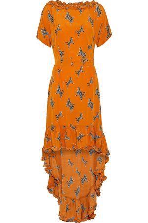 Baum und Pferdgarten Woman Asymmetric Ruffled Printed Crepe Dress Size 36