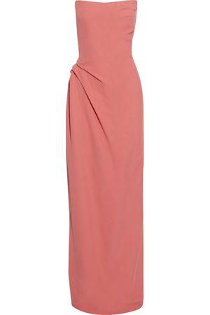 Oscar de la Renta Woman Strapless Pleated Crepe Gown Coral Size 0