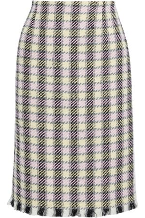 Oscar de la Renta Woman Frayed Houndstooth Tweed Pencil Skirt Size 0