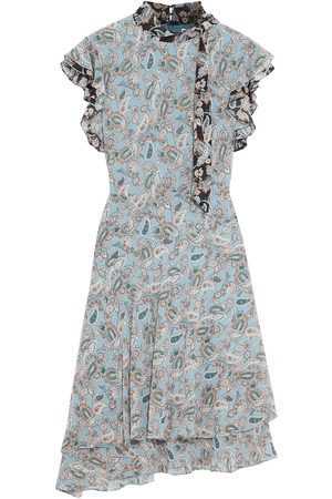 MIKAEL AGHAL Woman Asymmetric Ruffled Printed Crepe De Chine Dress Light Size 10