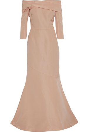 Oscar de la Renta Woman Fluted Off-the-shoulder Duchesse Silk-satin Gown Blush Size 0