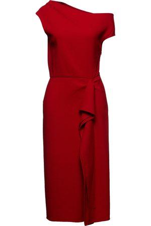 Oscar de la Renta Woman Off-the-shoulder Draped Stretch-wool Crepe Dress Crimson Size 10