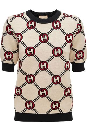 Gucci Soft Wool Logo Jacquard Knit Top