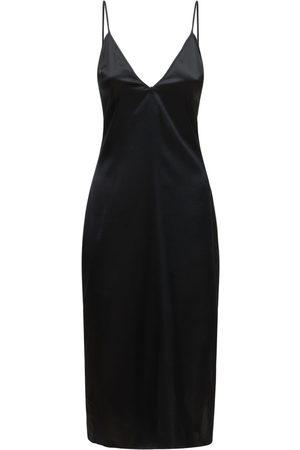 FLEUR DU MAL Luxe Laceback Silk Slip Dress