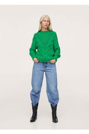 MANGO Women Cardigans - Contrasting knit sweater