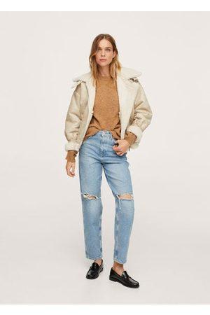 MANGO Faux shearling lapel jacket