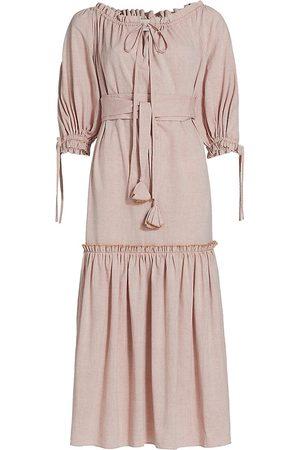 Anna Mason Bardot Ruffled Midi Dress