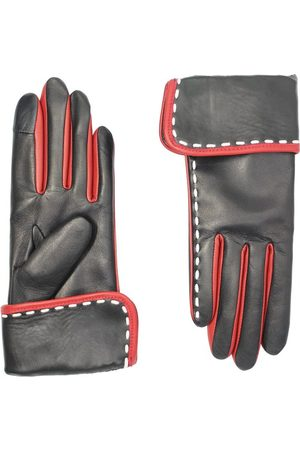 AGNELLE Diane Topstitched Leather Gloves