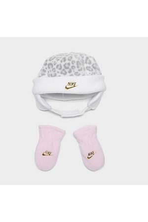 Nike Girls' Infant Leopard Print Beanie and Mittens Set in Animal Print/Grey/ Size 12-24 Fleece