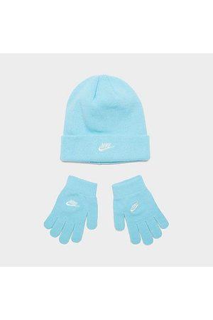 Nike Little Kids' Futura Beanie and Gloves Set in Blue/Copa