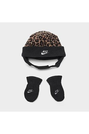 Nike Girls' Infant Leopard Print Beanie and Mittens Set in Brown/Animal Print/ Size 12-24 Fleece