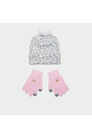 Nike Beanies - Girls' Toddler Leopard Print Beanie and Mittens Set in /Animal Print/ Fleece