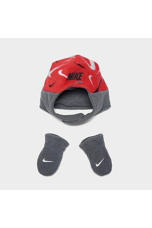 Nike Hats - Boys' Infant Fleece Trapper Hat and Mittens Set in /Grey/University Size 12-24