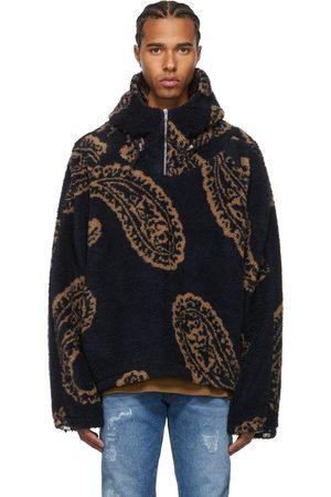 424 FAIRFAX Men Fleece Jackets - Navy Fleece Paisley Quarter-Zip Jacket